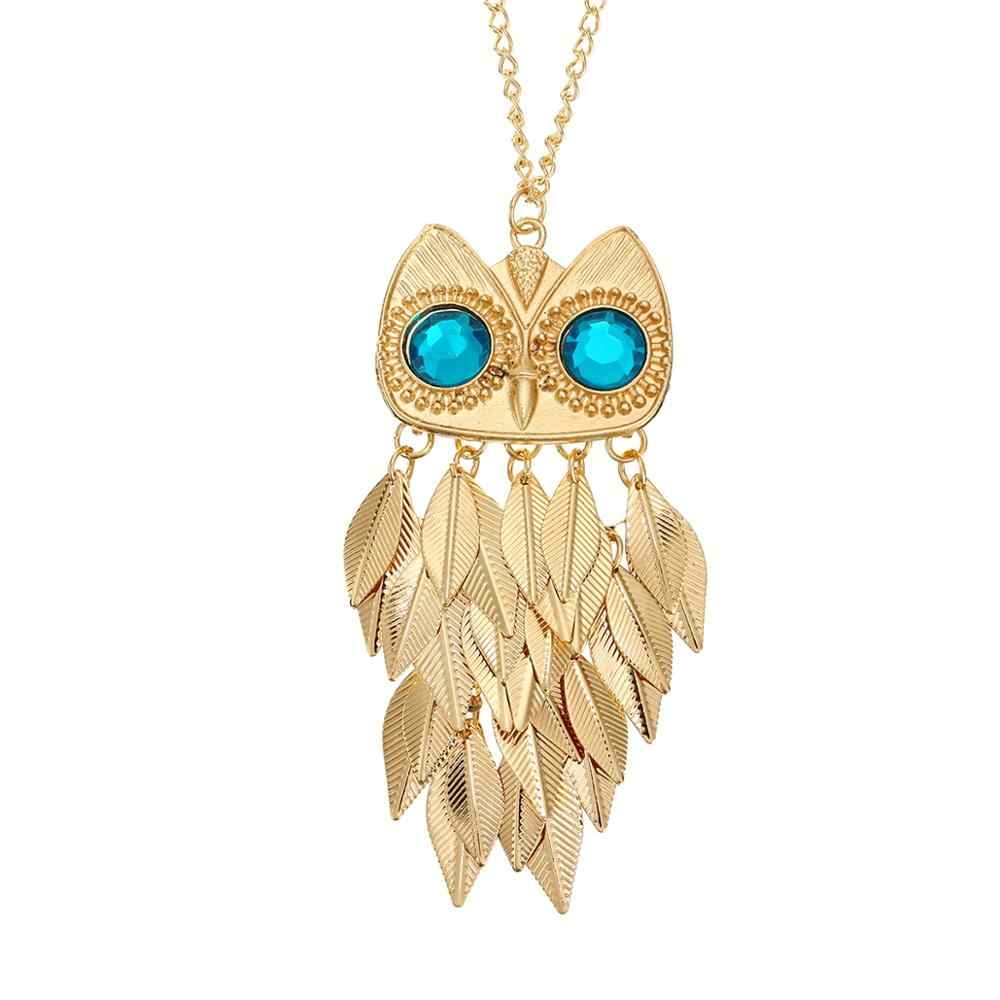 Punk Fashion Owl Leaves Tassel Charm Gold Chain Necklace For Women Vintage Cat Animal Pendant Necklace Sweater Chain Jewelry