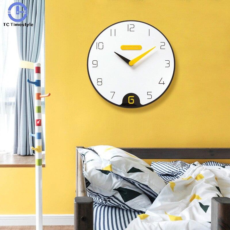 Nordic Wall Clock Home Decoration Digital Number Minimalist Personality Silent Watch Quartz Bedroom Yellow Large Modern Design