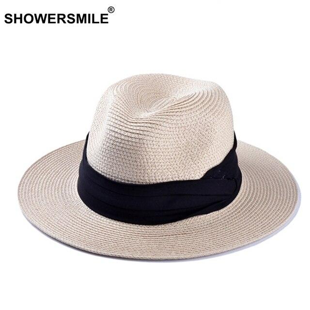 SHOWERSMILE di Marca Cappelli di Paglia Per Le Donne Panama Cappello Beige  Bianco Mens Beach Casual 03d0b33a05e1