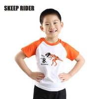 Garçon dinosaure t-shirt Orange Raglan anniversaire fille t-shirt mode filles vêtements 2-14 ans enfants vêtements enfants vêtements col rond