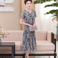 100% Silk Knit Mesh Long Dress Floral Print Dress Size L XL XXL XXXL