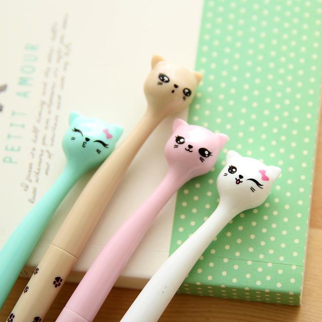 Cute Kawaii Cat Cartoon 0.5mm Black Ink Gel Pens