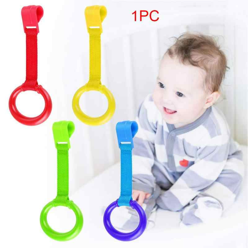 2PCS Baby Bed Pull Ring Wake Up Home Stand Up Non-toxic Multi-color Space Saving Crib Foldable Travel Portable Hook Pendants Toy