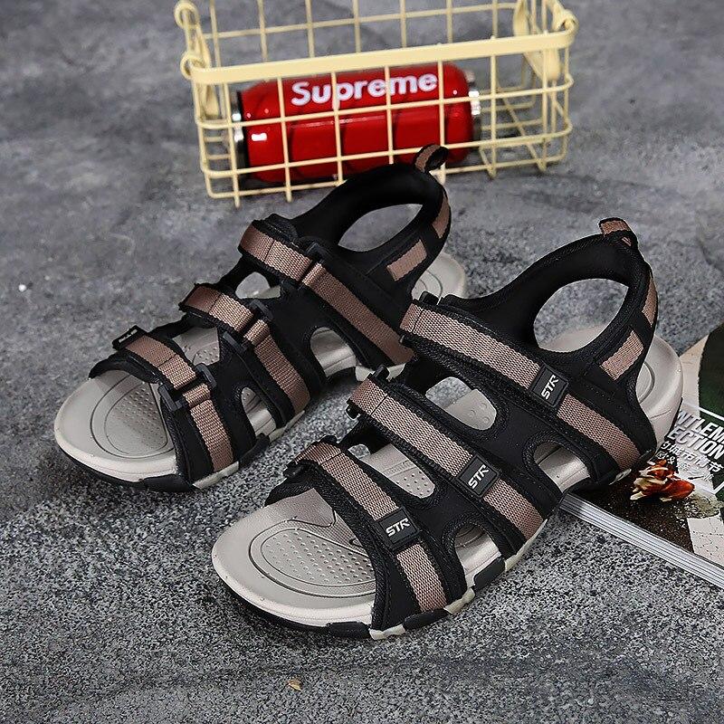 Fashion Casual Solid Gladiator Sandals for Men Basic Flat Beach Sandals Hook Loop PU Platform Sandale Homme 7