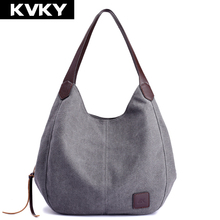 KVKY Brand Women's Canvas Handbags High Quality Female Hobos Single Shoulder Bags Vintage Solid Multi-pocket Ladies Totes Bolsas