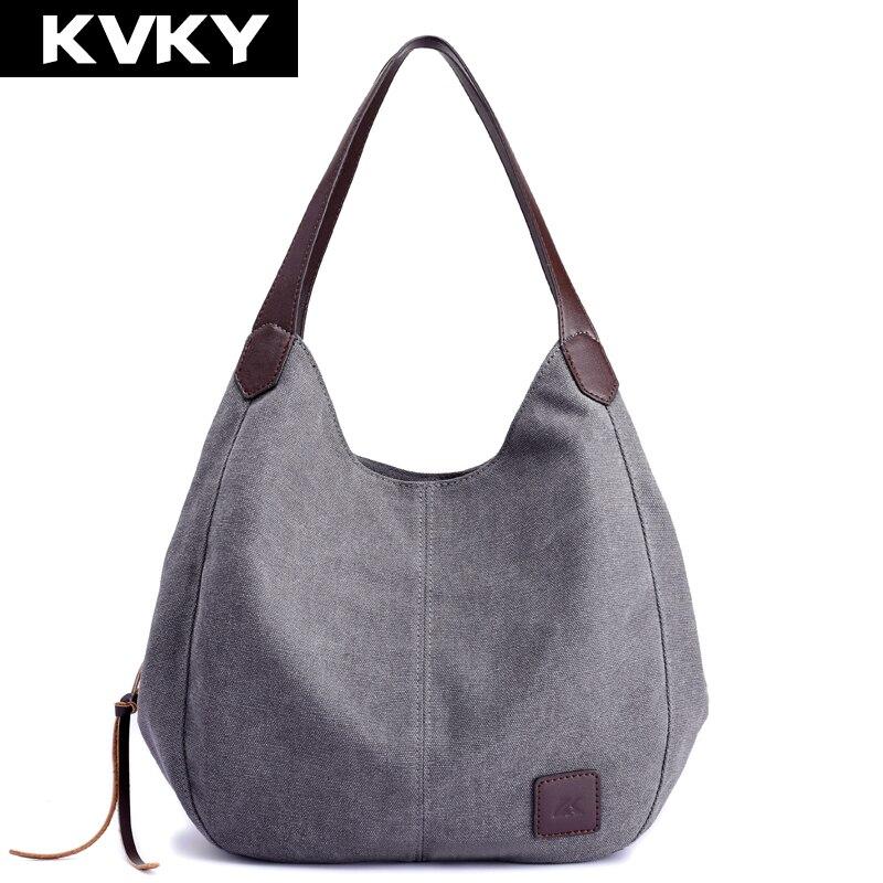 KVKY Marca Bolsos de Alta Calidad de Lona de Las Mujeres Hobos Femeninos Solos Bolsos de Hombro Sólido de La Vendimia Multi-bolsillo de Las Señoras Totes Bolsas