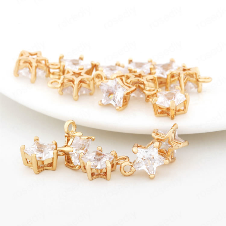 (33218)4PCS 11*8MM Height 5MM 24K Champagne Gold Color Plated Brass with Zircon Star Shape Charms Jewelry Findings Accessories