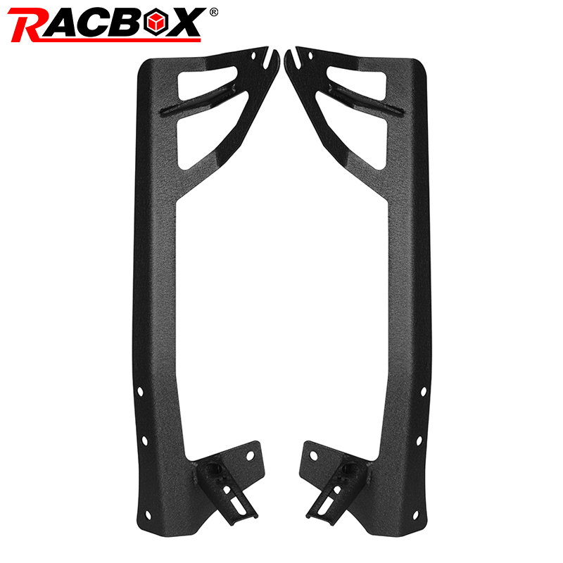 RACBOX For 300W 52'' LED Light Bar 4 inch LED Work Lamp Hold Mounts Windshield Mounting Brackets for Jeep Wrangler JK 2007-2015 4pcs black led front fender flares turn signal light car led side marker lamp for jeep wrangler jk 2007 2015 amber accessories