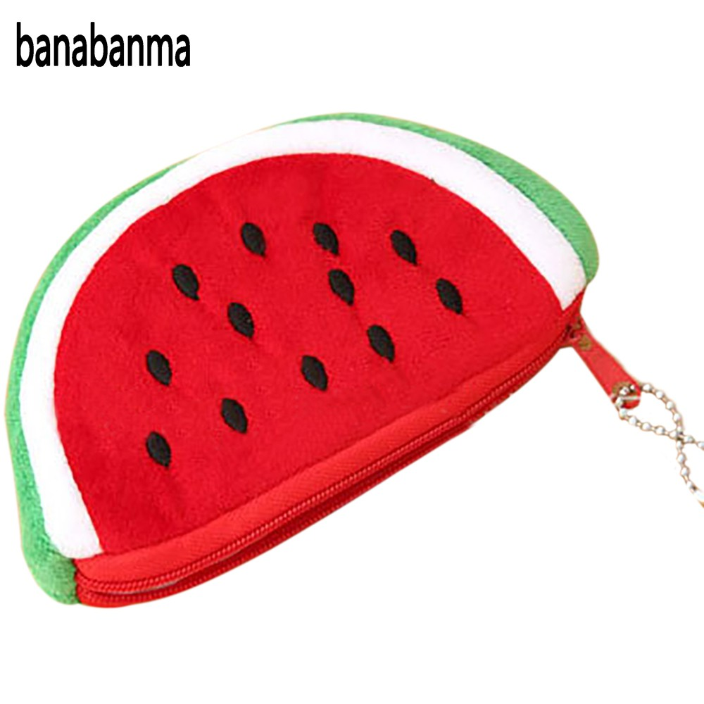 Banabanma Women Girl Novelty Coin Purse Cute Watermelon Zipper Plush Change Bag Phone Bag Pencil Case Hand Pocket Wallet ZK30