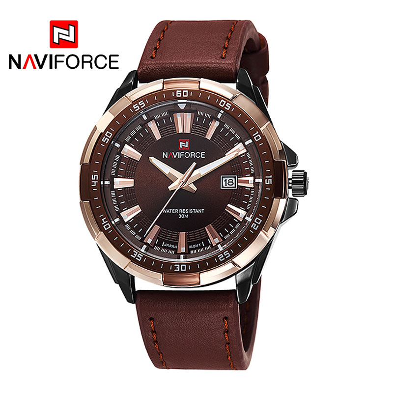 2018 New NAVIFORCE Brand Men Quartz Watches Leatehr Waterproof Analog Watches Mens Date Casual Clock Rome Time Relogio Masculino