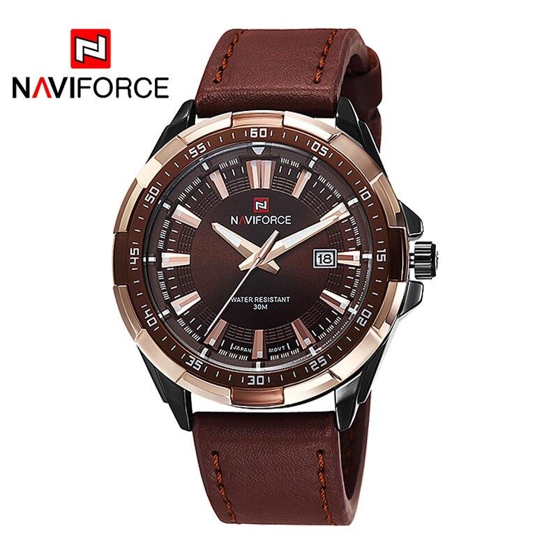 2018 nuevo NAVIFORCE de los hombres de la marca de relojes de cuarzo de cuero impermeable relojes hombre fecha reloj Casual Roma tiempo Relogio Masculino