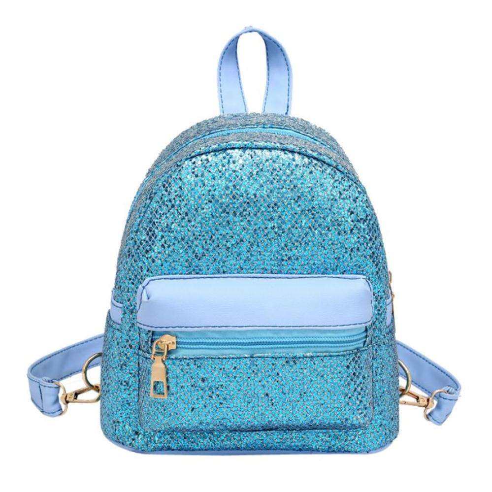 New Arrival Fashion Women Girl Bling Sequins Mini Backpack Female Pure Colour Travel Zipper School Rucksack mochila feminina S