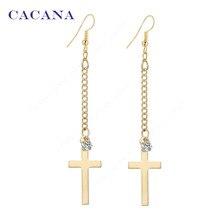 2016 новый CACANA позолоченные мотаться длинные серьги для женщин топ качество крест с CZ алмаз бижутерия горячая продажа No. A199 A200