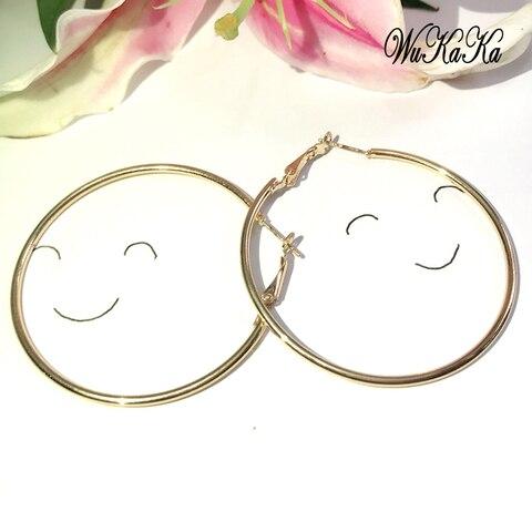 Серьги кольца женские круглые золотистые/черные/серебристые