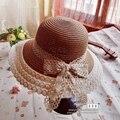 Лето кружева соломенная шляпа мода женщины широкий большой широкими полями флоппи-бич богемия японии сексуальные кружева с бантом соломенная шляпка Cap для взрослых