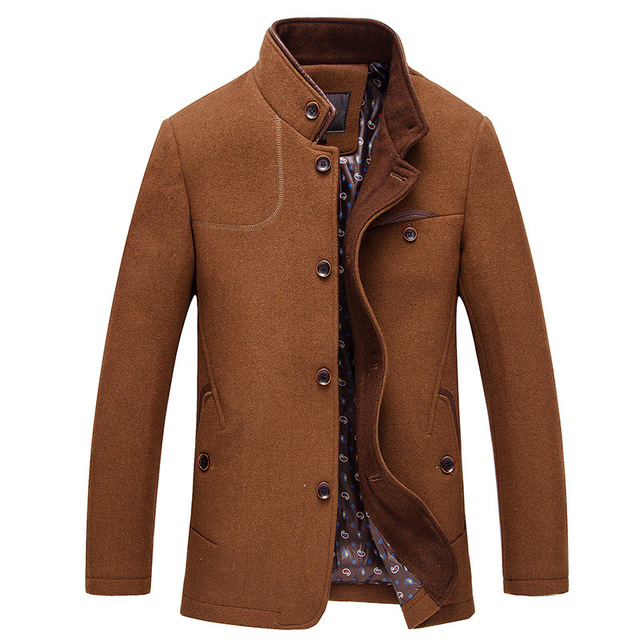 2017 Nuevo Invierno de la Llegada Mezclas De Lana Marca Trajes de Hombre Vestido chaquetas de Los Hombres de Largo Espesar abrigo de Lana de Abrigo ropa de Hombre 1003