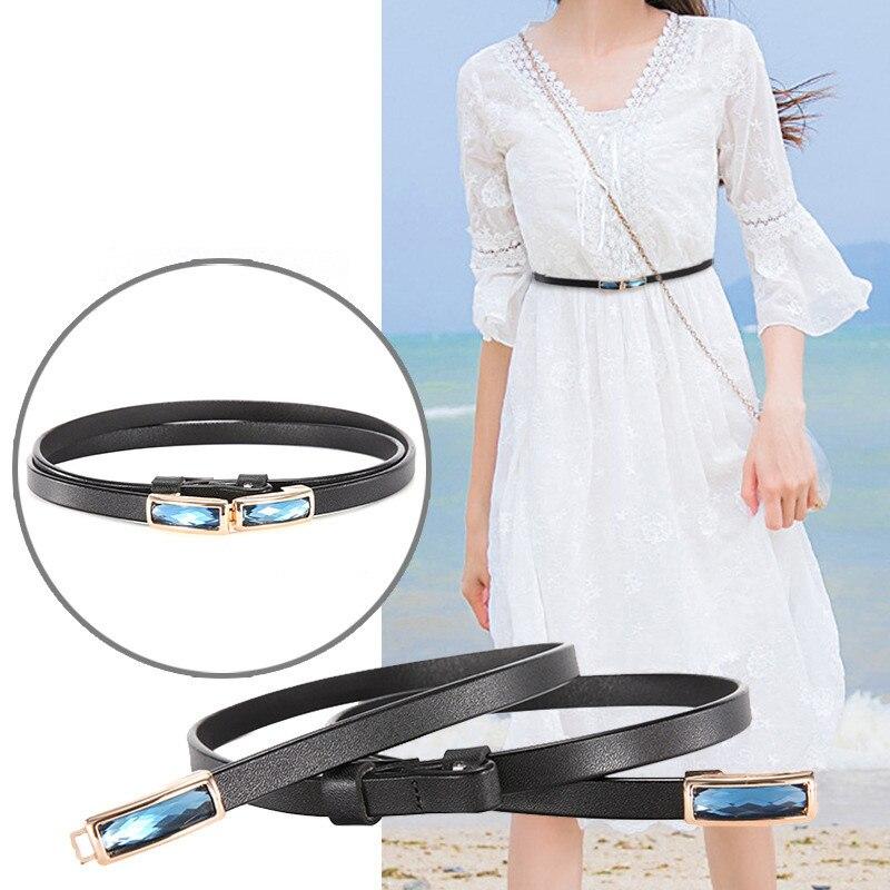 Trendy Skinny Belt for Women Dress Blouse Cowhide Strap 2019 New Adjustable Genuine Leather Designer Female
