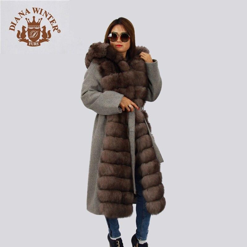 Alta Gama Invierno Abrigo Diana 2018 De Lana Moda Fox Gris WIHWqRnA dca405676b9