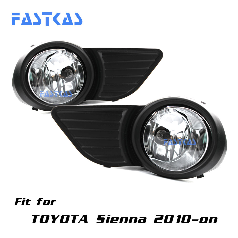 12v Car Fog Light Assembly for Toyota Sienna 2010-2016 Left & Right Fog Light Lamp with Switch Harness Relay Fog Light 12v 55w car fog light assembly for ford focus hatchback 2009 2010 2011 front fog light lamp with harness relay fog light