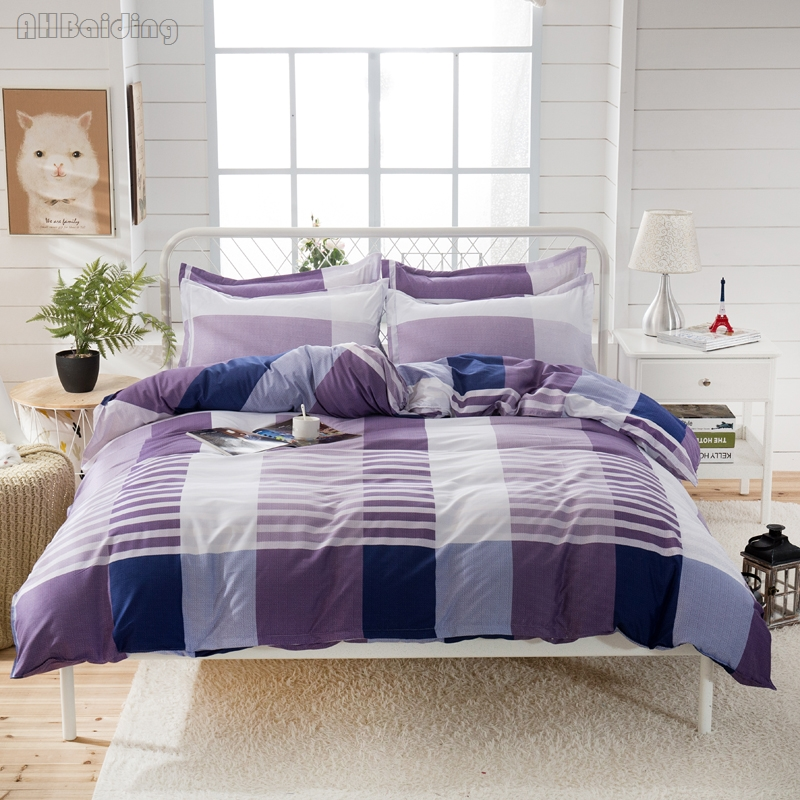 Home Textile Purple Plaid Bedding Set Cotton Stripes Bed Linen for Adult Kids Gifts Modern Style Bedclothes Twin Full Queen King