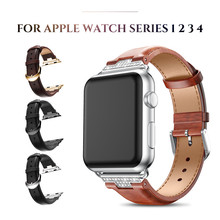 Leather Strap for Apple Watch Band 38mm 42mm Series 3 2 1 with Rhinestone Diamond for Apple Watch 40mm 44mm Series 4