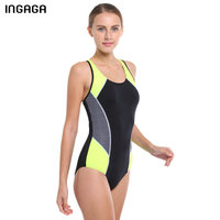 INGAGA Brand Sport Swimsuit 2016 Latest Women One Piece Retro Vintage Swim Slim Bathing Suits Beachwear