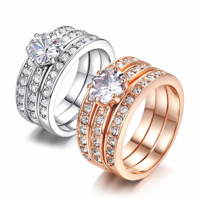 Top Quality Cubic Zirconia 3 Round Rose Gold Color Ring Genuine Crystals From Austria Full Sizes Wholesale ZYR059 ZYR060