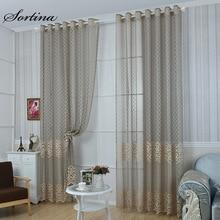 Sortina 4 вида цветов Современная кружева тюль шторы для гостиной новые модные жаккардовые вуаль для спальни дневной sheer занавес