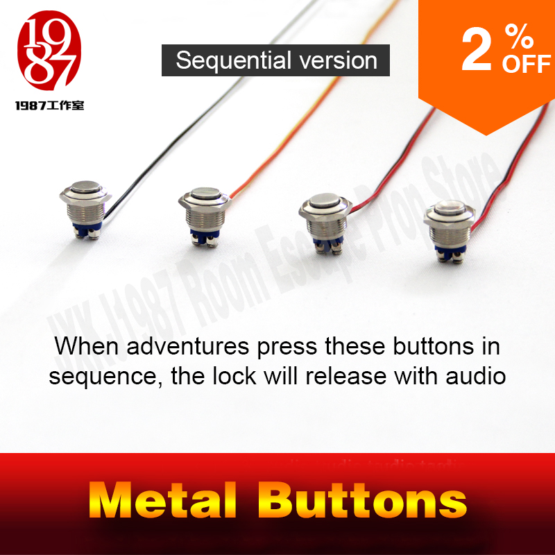 Image 2 - Chamber room prop real life escape room magic metal button in order to unlcok with audio jxkj1987 adventure room prop game-in Alarm System Kits from Security & Protection
