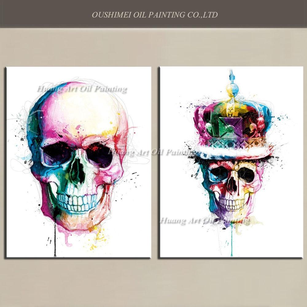 Ročno poslikana moderna skeletna oljna slika Okrasna slika Izvleček - Dekor za dom - Fotografija 1