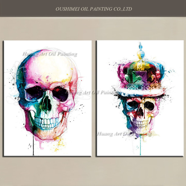 Hand Painted Modern Skeleton Oil Painting Decorative