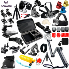 SnowHu 37 IN 1 For Gopro Accessories Set Helmet Harness Chest Belt For Go pro Hero 5 5S 4 3+2 For xiaomi yi action camera GS37