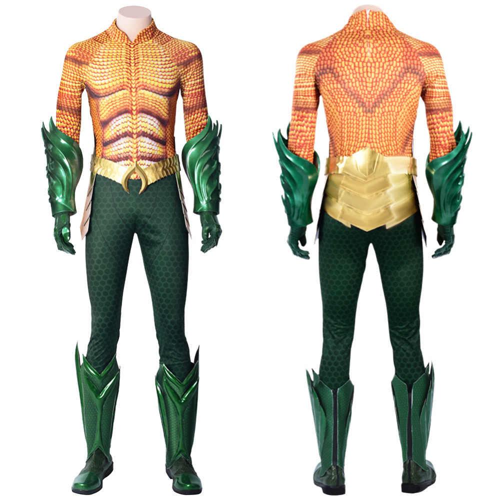 DC Justice League Aquaman Arthur Curry костюм для косплея полный комплект карнавальный на новый