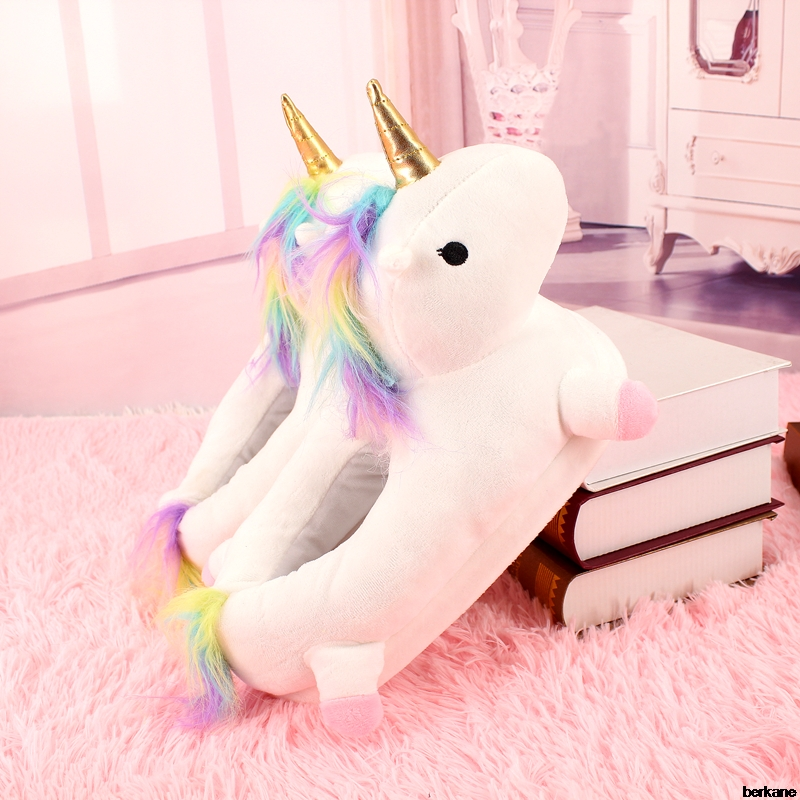 Plush Unicorn Slippers Adult Women 2018 Girls Unisex Home Indoor Chausson Licorne Shoes Bedroom Fluffty Warm Winter Soft Grown