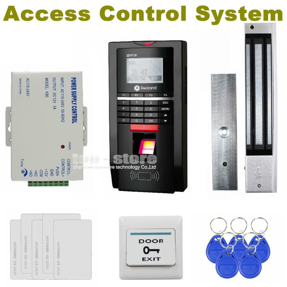 DIYSECUR Full Fingerprint ID Card Reader 125KHz RFID Password Keypad Door Access Control Kit + Power Supply + Magnetic Lock diysecur lcd 125khz rfid keypad password id card reader door access controller 10 free id key tag b100