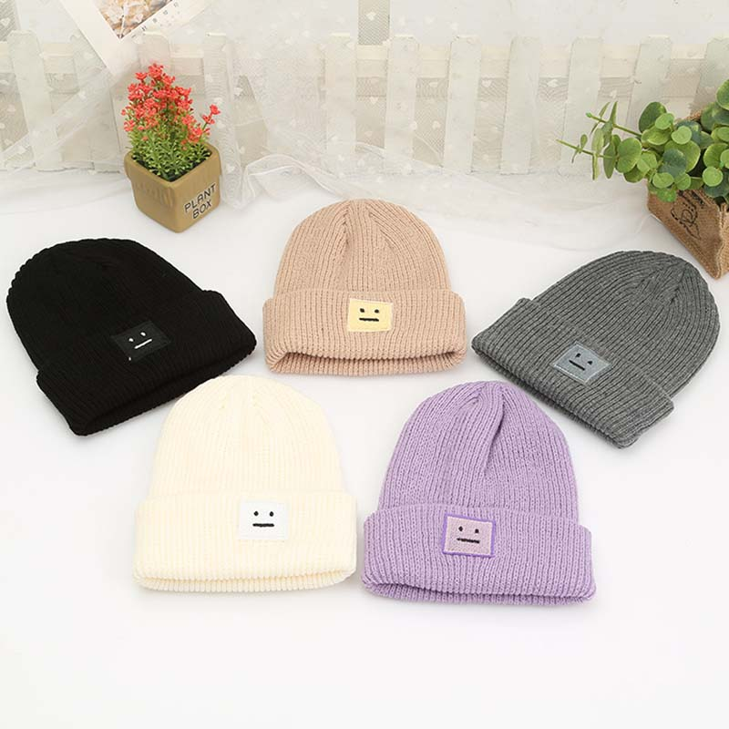 Korean New Hat Autumn Winter Fashion Warm Knit Cap British Style Smiley Head Casual Knitted Cap For Women Outdoors Headwear