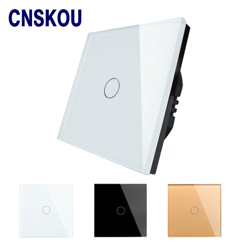 Cnskou EU Standard Touch Switch 1 Gang 1 Way Wall Light Touch Screen Switch White Crystal