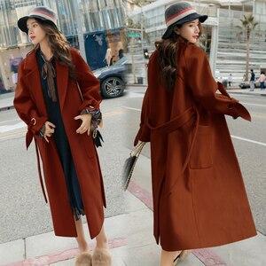 Image 5 - Wmswjh 2019 automne/hiver nouveau femmes décontracté laine mélange trench manteau surdimensionné cachemire manteaux Cardigan Long manteau avec ceinture A220