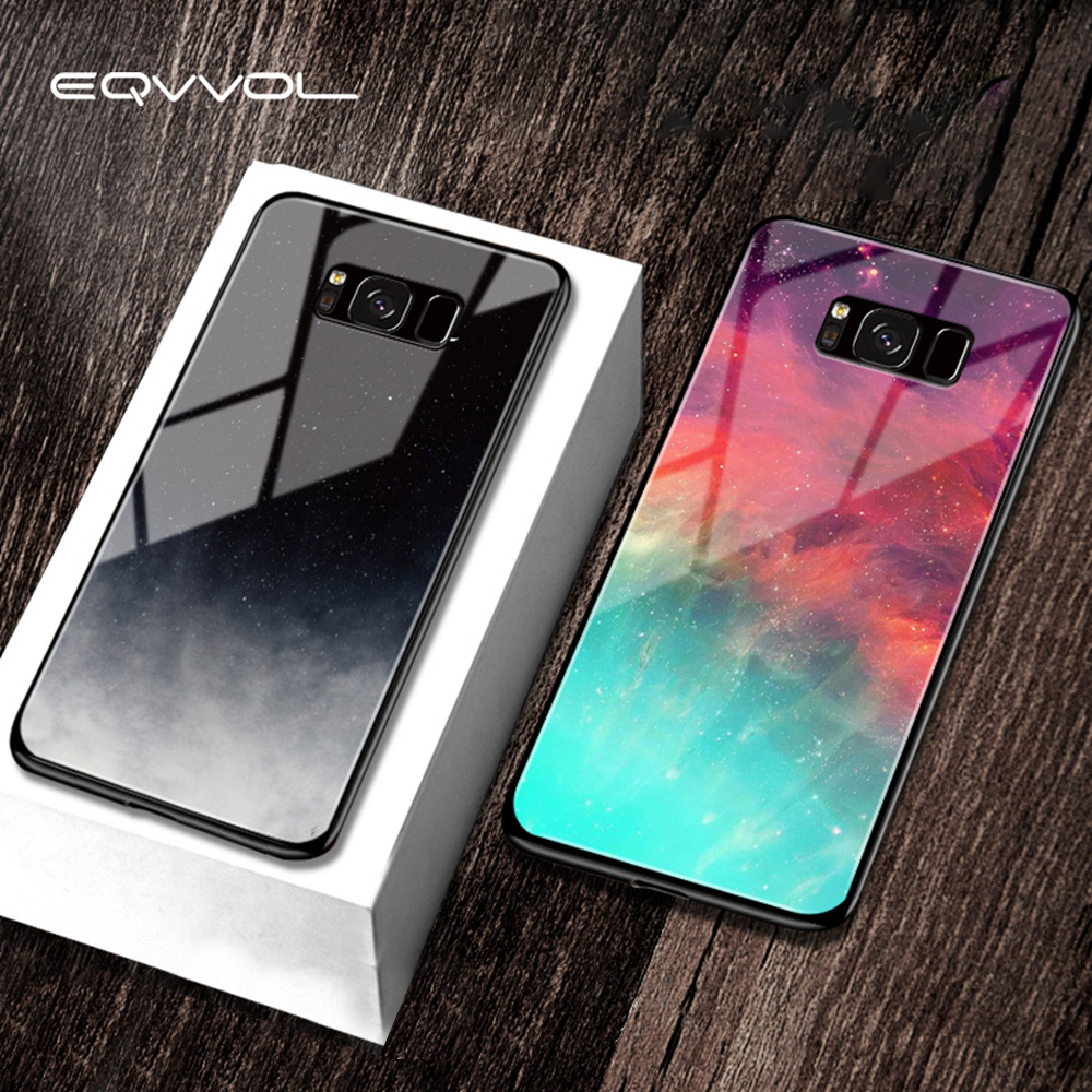 Eqvvol Tempered Glass Space <font><b>Phone</b></font> <font><b>Case</b></font> For <font><b>Samsung</b></font> Galaxy Note 8 9 S8 S9 Plus <font><b>S7</b></font> <font><b>Edge</b></font> Soft <font><b>Cases</b></font> Starry Moon Painted Cover Coque image