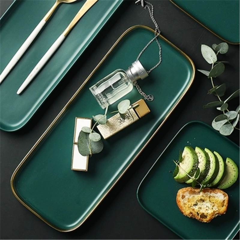 NIMITIME Deep Green Ceramic Plate Rectangular Fish Dish Home Western Style Steak Plate