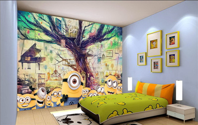 Beibehang Yellow People Tree House 3D Animation Creative Mural Wallpaper Childrens Room Living TV Background