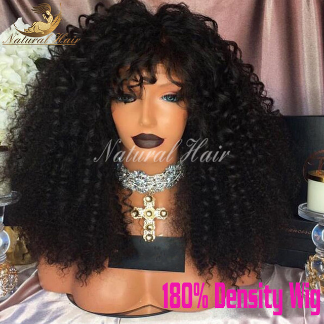 Natural hairline glueless full lace 180% density kinky curly human hair wig Brazilian human hair wigs cheap lace front wigs