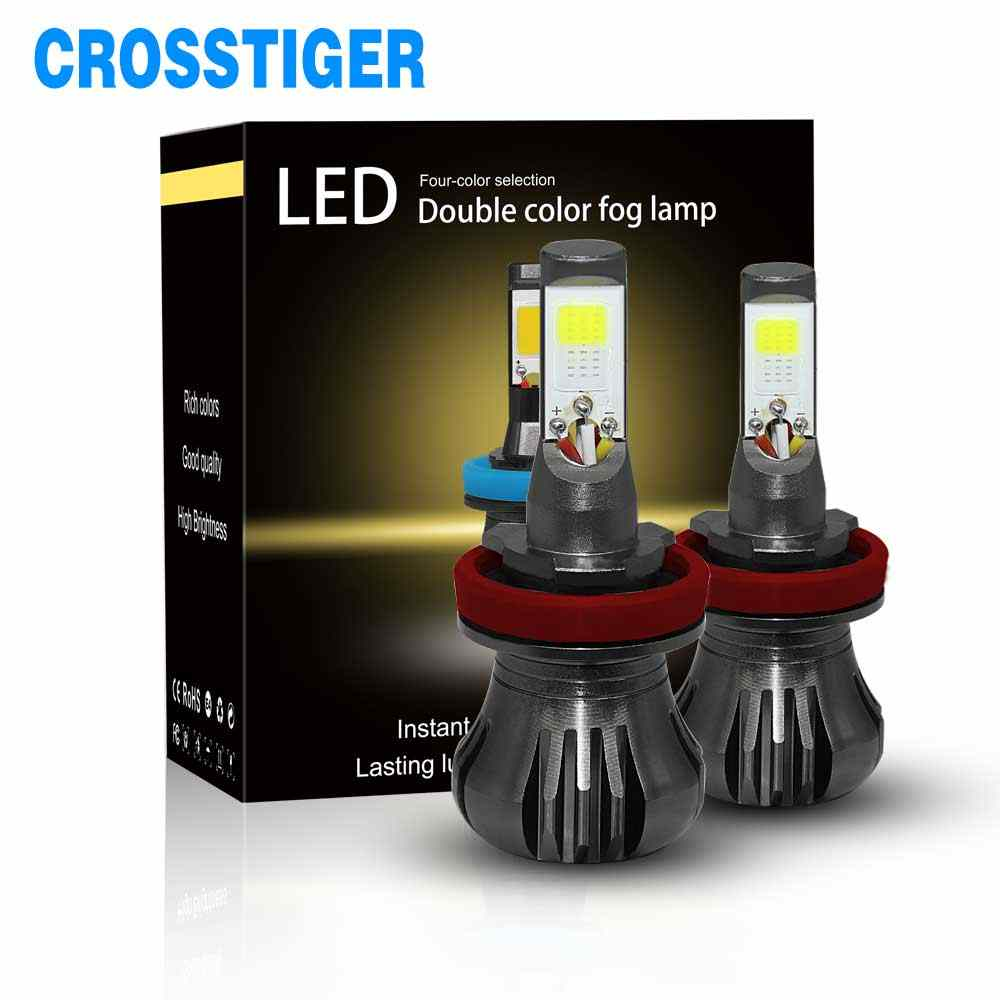 Dual Car Led Fog Light H3 H8 Car Headlight Lamp 3000K 6000k 8000K Double Colors 880 881 H11 LED Lights Tuning Car Universal Bulb