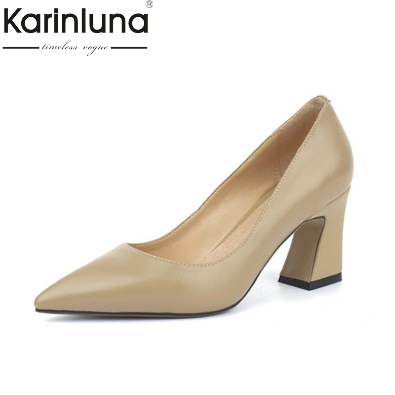 KarinLuna Women's Genuine Leather Square High Heels Office Shoes Woman Pointed Toe Slip On Pumps Size 34-39 krazing pot shallow fashion brand shoes genuine leather slip on pointed toe preppy office lady thick high heels women pumps l18