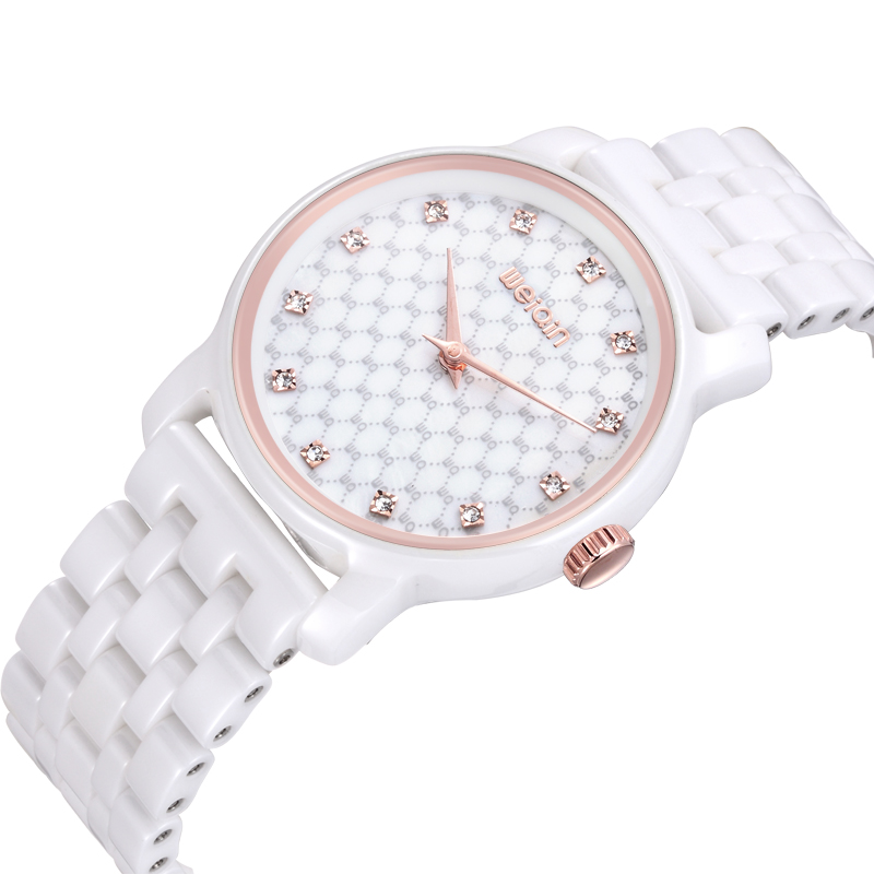 WEIQIN Brand Ceramic Bracelet Watch Women Rose Gold  Diamond Fashion Watches Ladies Quartz-watch Timepiece Relogio Feminino saat weiqin new 100% ceramic watches women clock dress wristwatch lady quartz watch waterproof diamond gold watches luxury brand