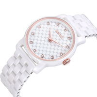 WEIQIN Brand Ceramic Bracelet Watch Women Rose Gold Diamond Fashion Watches Ladies Quartz Watch Timepiece Relogio