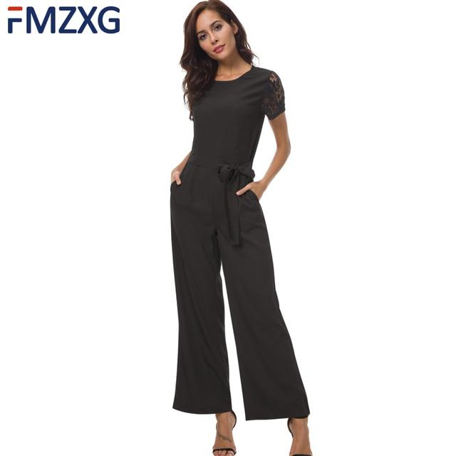7052702530d Formal Black Red Wide Leg Jumpsuit Romper OL Women Elegant Spliced Lace  Sleeve Belt Jumpsuit Romper Split Casual Femme Autumn