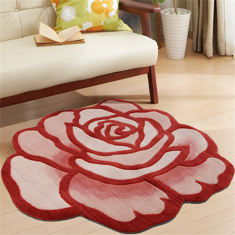 90CM Diameter 3D Personality Romantic Rose Carpets Kid Play Rugs Floor Mat Doormat Bedroom Area Rug Chair Mat for Living Room