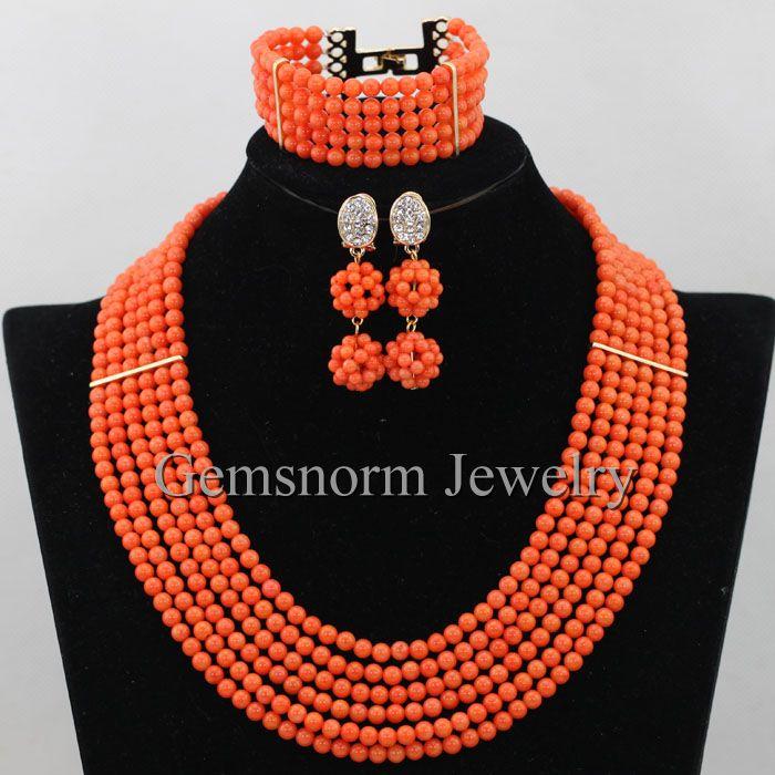 2bb45314fa296 6 صفوف الأفريقي المرجان مجموعة مجوهرات الزفاف النيجيري المرجان الخرز قلادة  مجموعة شحن مجاني CNR397 العروسة