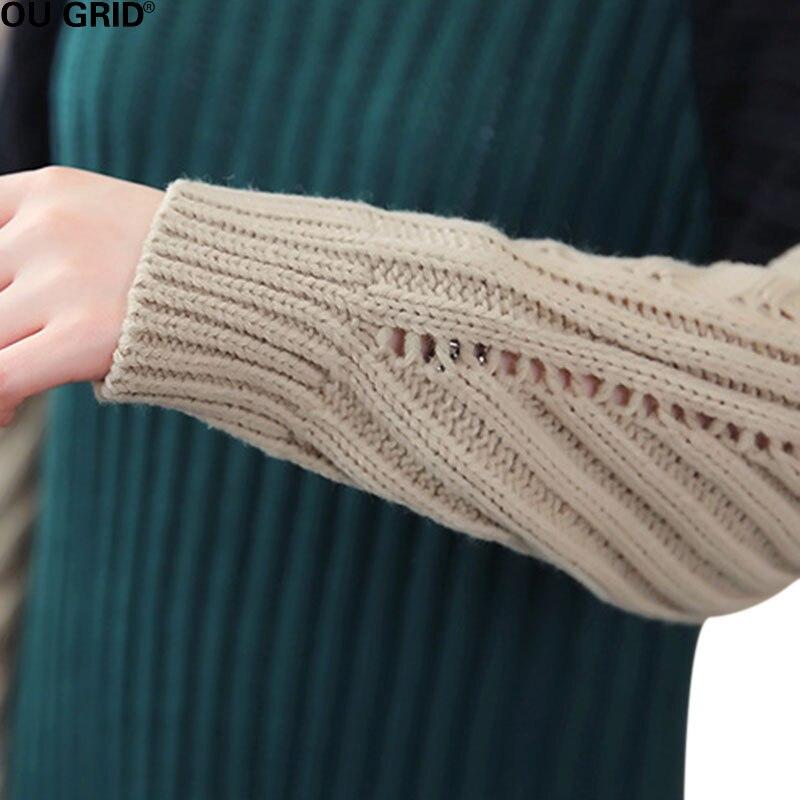 Femmes longue robe tricotée automne hiver veste patchwork lâche rayé garniture côtelée fente asymétrique Maxi pull décontracté robe - 6